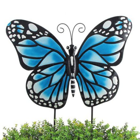Set of 3 Small Iron Butterfly Garden Flat Stakes