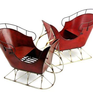 Set of 2 Red Iron Antique Style Sleighs