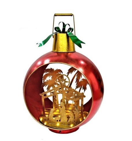 Red Christmas Ornament with Nativity Scene