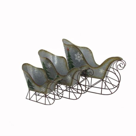 Set of 3 Galvanized Sleighs with Christmas Tree and Snowflakes