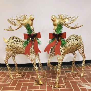 Set of 2 Galvanized Christmas Reindeer in Gold Finish with Red Ribbon and Bells