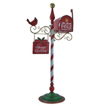 Standing Christmas Mailbox with Hanging Sign and Cardinal