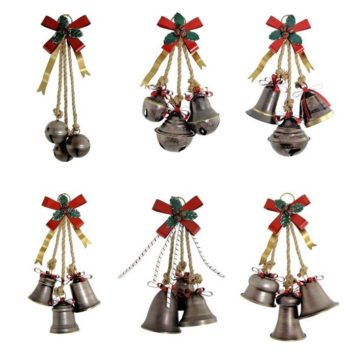 Set of 6 Old World Galvanized Christmas Bells with Bows