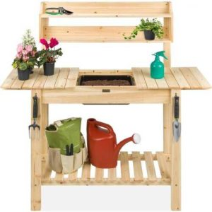 Wooden Potting Bench with Soil Tub