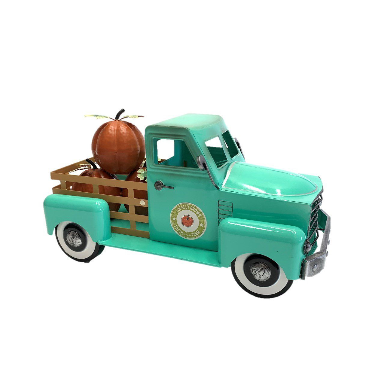 Teal Country Pickup Truck with Pumpkins