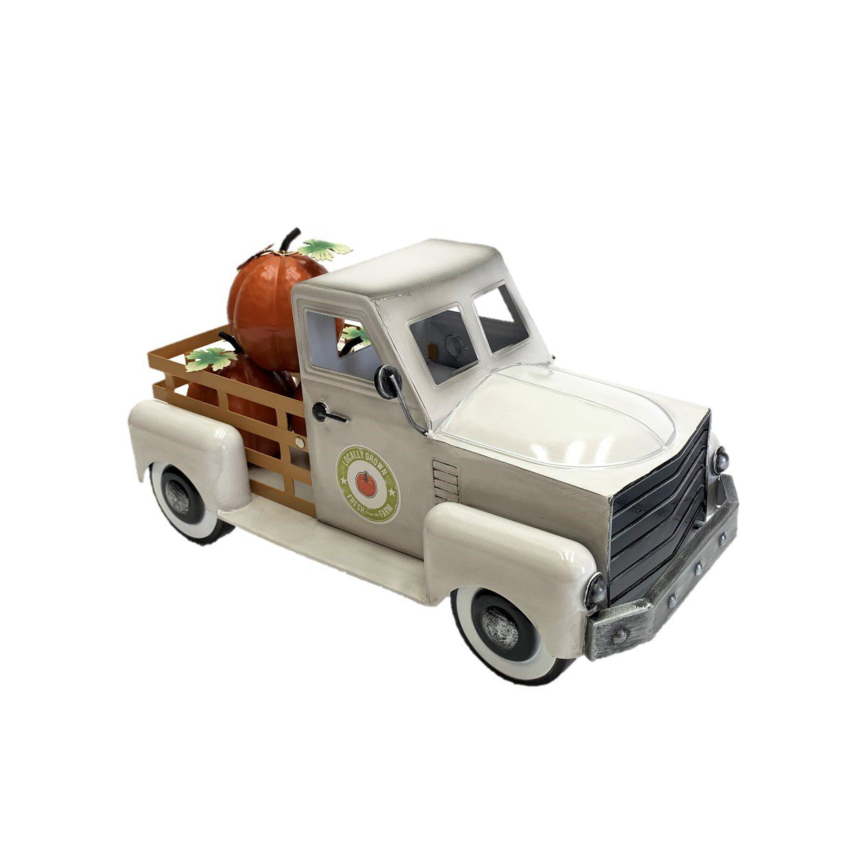 White Country Pickup Truck with Pumpkins