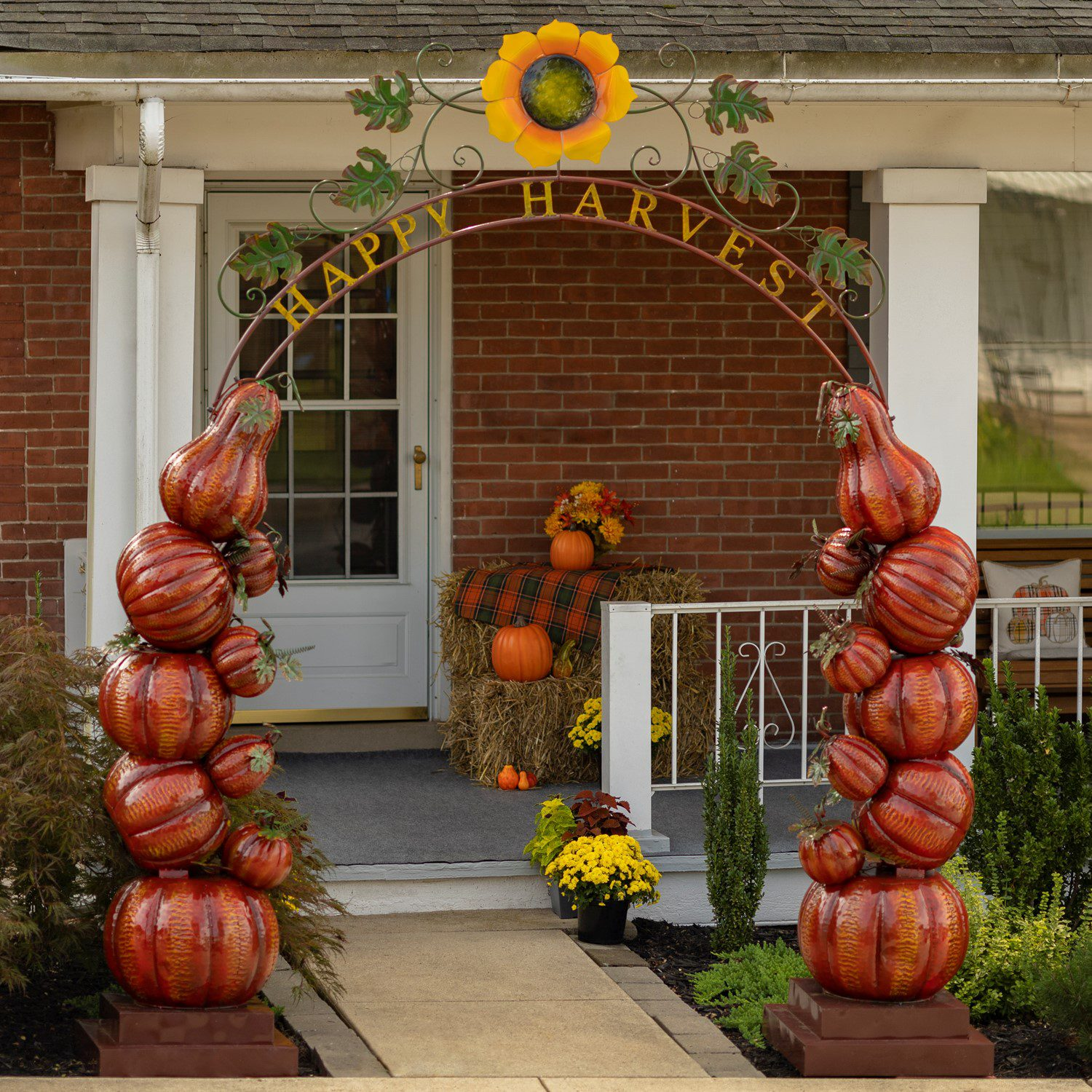 Large Fall Harvest Arch With Pumpkins